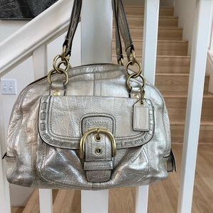 Coach gold champagne buckle bag